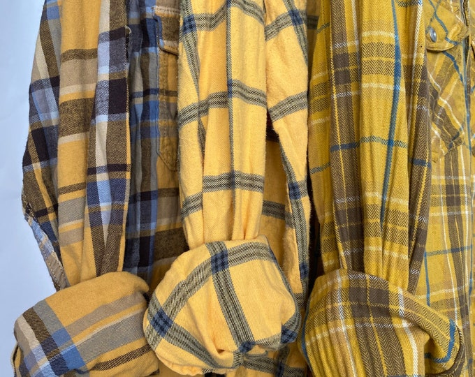 M/L vintage flannel shirts curated as a set of 3, mustard yellow plaids, bridesmaid flannels, medium large
