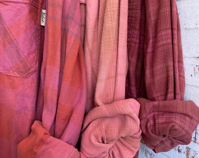 2X vintage flannel shirts curated as a set of 3 in blush berry pink