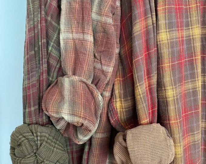 L/XL vintage flannel shirts curated as a set of 3 in rust, plum, olive, mustard and cranberry plaid