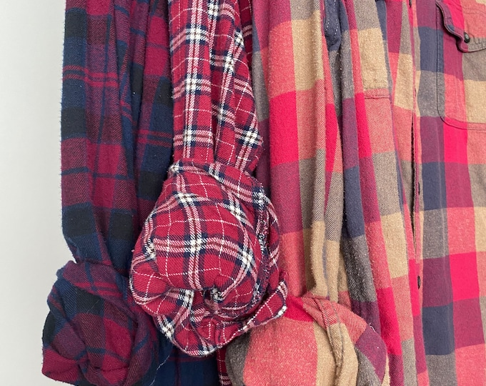 3 vintage flannel shirts curated as a set, bridesmaid flannels, M/L medium large, colors are fuchsia navy and purple