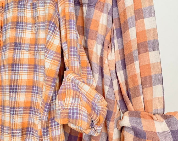 2 pack vintage flannel shirt, XL and 2X couples shirts, colors are peach and lavender plaid, Xlarge and XXL
