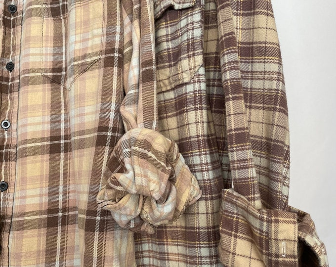 M/L vintage flannel shirts curated as a set of 2 in nude, cocoa, mauve, mint and gold plaid