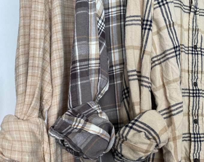 XL vintage flannel shirts curated as a set of 3, boyfriend flannels, neutral colors include beige and gray plaid, extra large