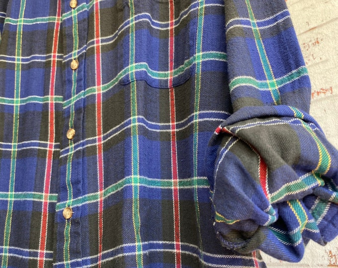 XL vintage flannel shirt, blue plaid, XLarge