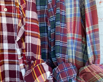S/M vintage flannel shirts curated as a set of 3, maroon and green plaid, small medium, boyfriend flannels, bridesmaid shirt