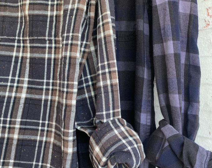 Small and Large vintage flannel shirt, set of 2, deep purple plaids, couples shirts, bridesmaid flannels
