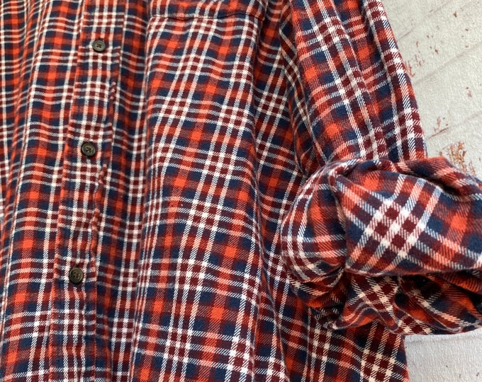 4X vintage flannel shirt, color burnt orange and blue, 4XL big and tall