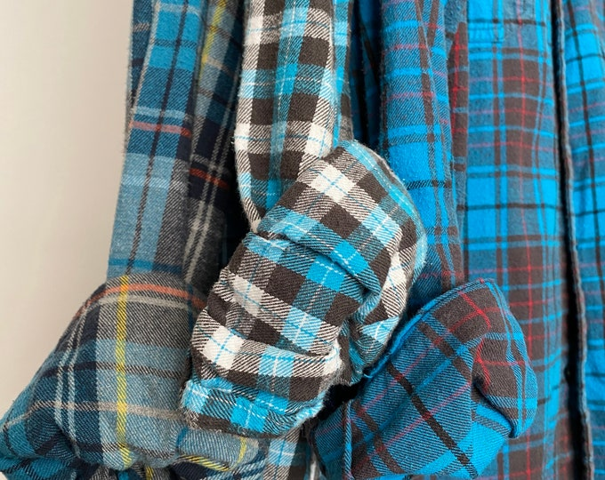 LARGE vintage flannel shirts, set of 3 bridesmaid flannels, color is aqua marine teal blue plaid