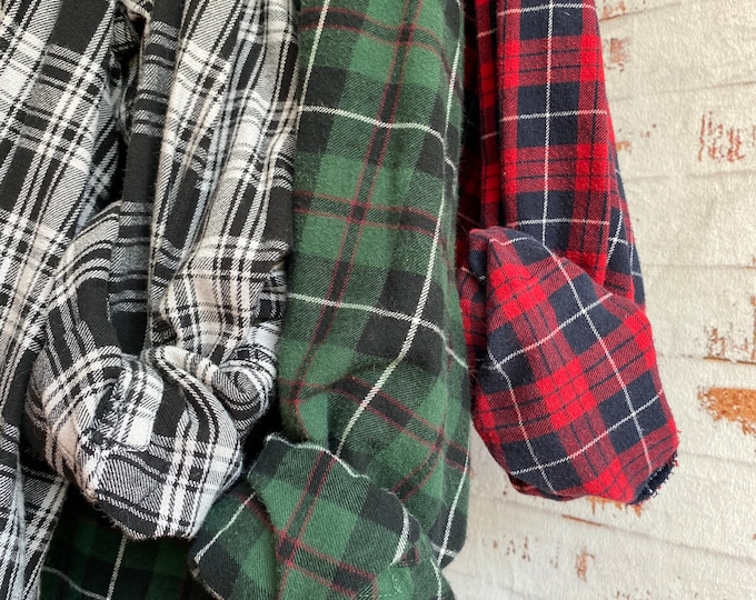 3X TALL vintage flannel shirts curated as a set of 3, red green and black plaid shirt XXXL, bridesmaid robes, Christmas wedding