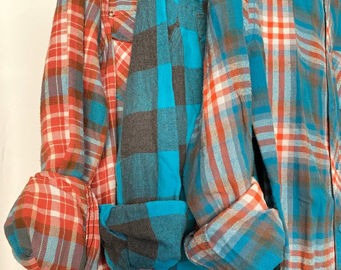 Small vintage flannel shirts curated as a set of 3 in ocean blue and orange plaid
