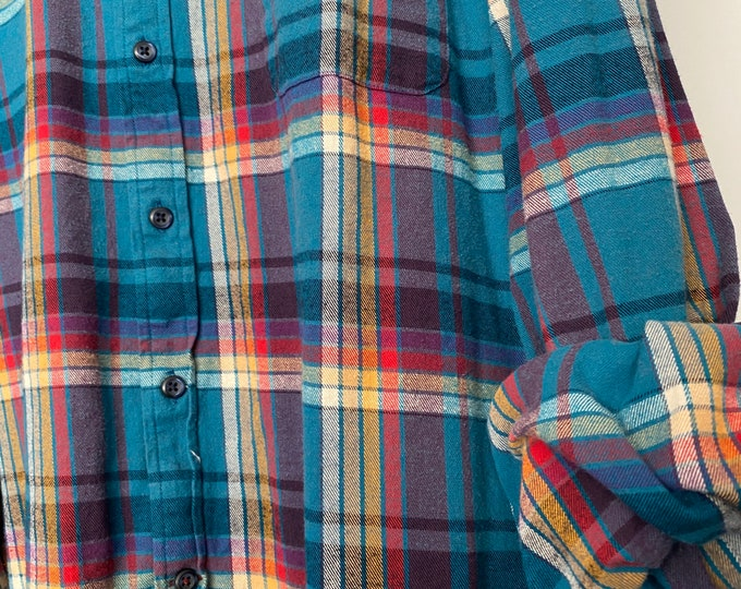 2X vintage flannel shirt, teal and purple pink and yellow plaid, XXL, unisex flannels