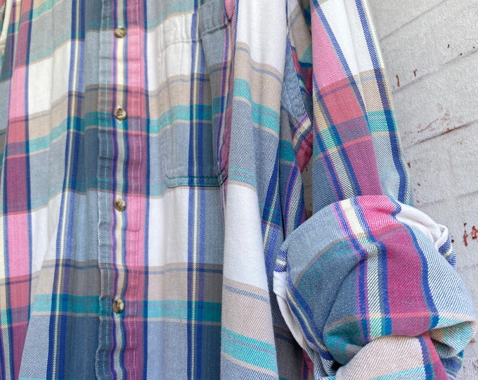 XL flannel shirt, vintage plaid, white with pink and blue, size extra large, bride flannels