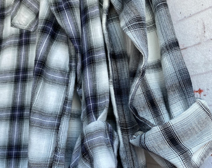 S/M vintage flannel shirts curated as a set of 2 in gray plaid, small medium, boyfriend flannels, bridesmaid shirt