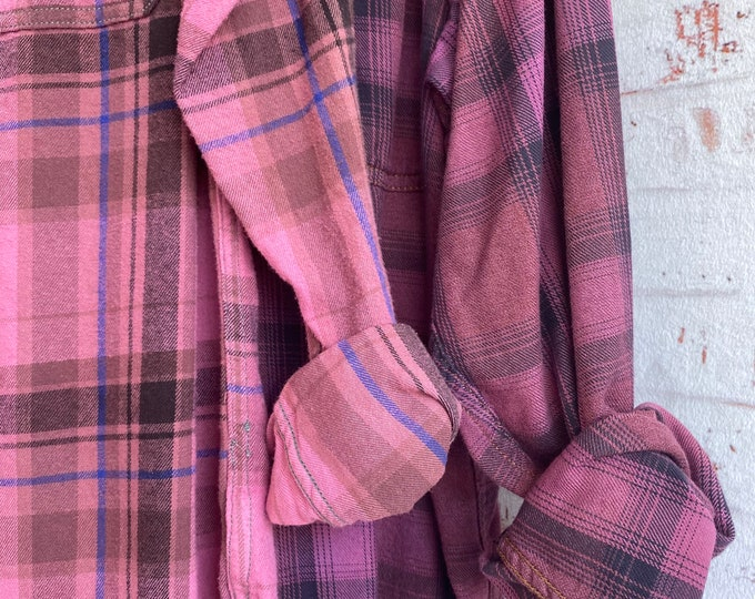 Small and XLarge vintage flannel shirt, set of 2, plum purple plaid, couples shirts, bridesmaids flannels