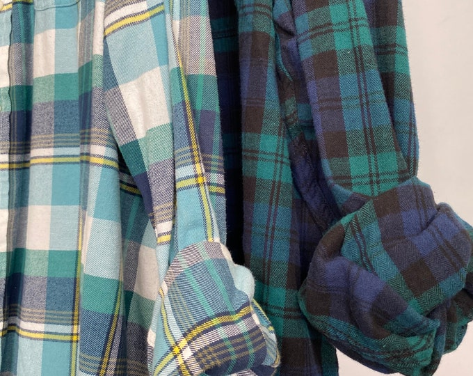 2X vintage flannel shirts curated as a set of 2, teal turquoise blue and emerald green, bridesmaid flannels