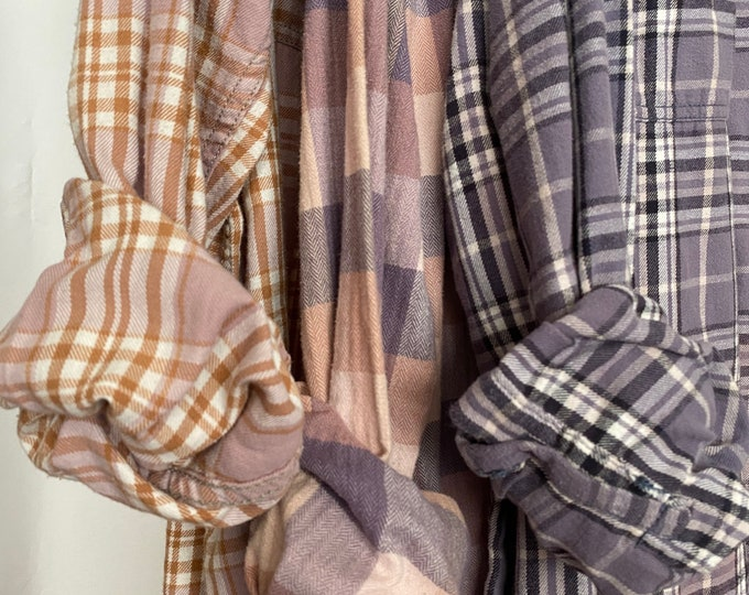 M/L Nightshirt Style vintage flannel shirts curated as a set of 3, pink and lavender plaids, medium large long length, flannel robe