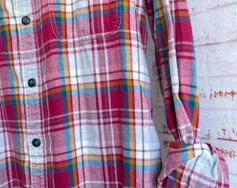 Small vintage flannel shirt, fuchsia and white plaid, bride getting ready button down, SM