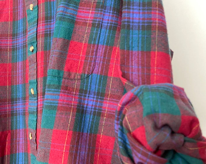 2X vintage flannel shirt, holiday plaid with burgundy green and blue, XXL, bridesmaid flannels, Christmas wedding