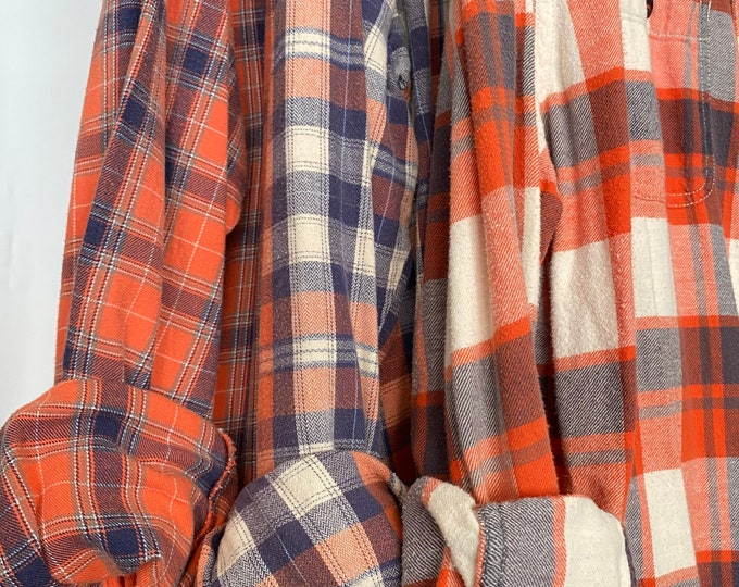 L/XL vintage flannel shirts curated as a set of 3,  colors are peach coral orange and purple plaid, bridesmaid flannels, large Xlarge