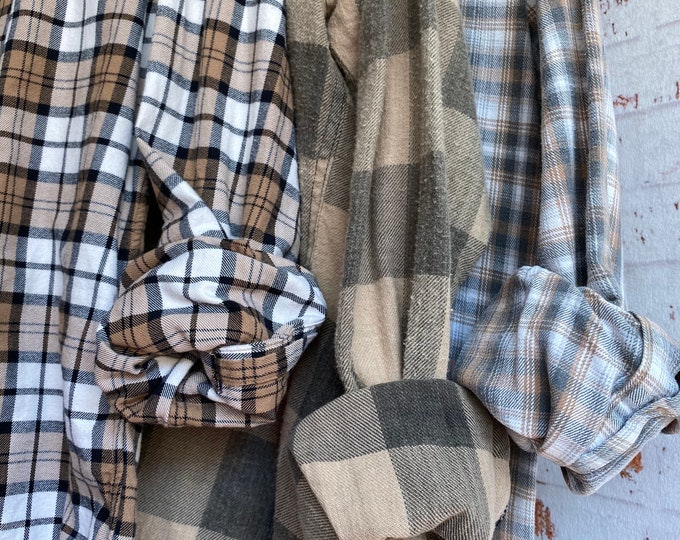 M/L vintage flannel shirts, set of 3 flannels, colors are neutral mocha latte tan taupe and nude plaid, medium large