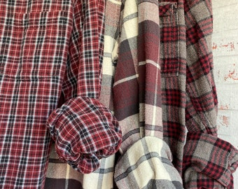XS vintage mismatched flannel shirts curated as a set of 3, colors are burgundy plaid, bridesmaid flannels, Xsmall,