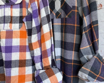 M/L vintage flannel shirts curated as a set of 2,  orange purple black and gray plaid, medium large