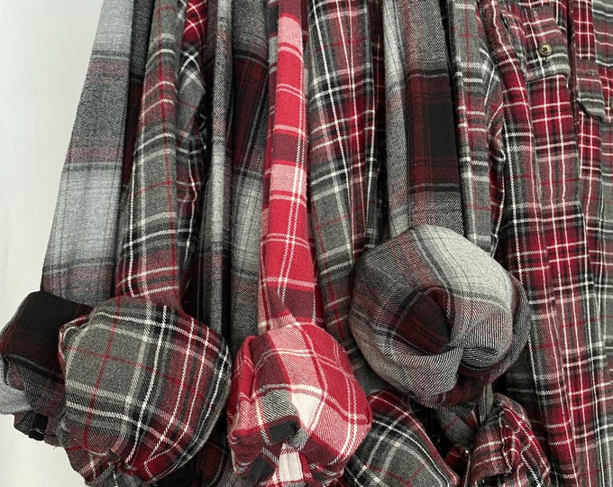 7 vintage flannel shirts curated as a set, bridesmaid flannels, colors are burgundy and gray plaids, S/M small medium