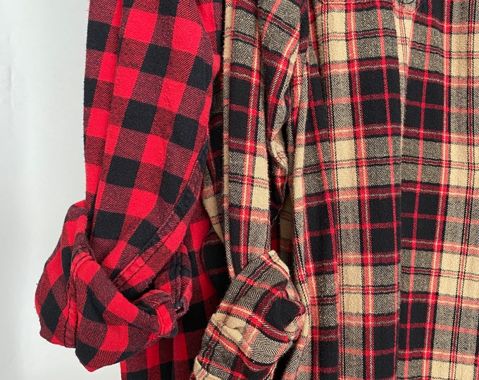 2X vintage flannel shirts curated as a set of 2 mismatched bridesmaid flannels, red checked and black, tan and red plaid, XXL