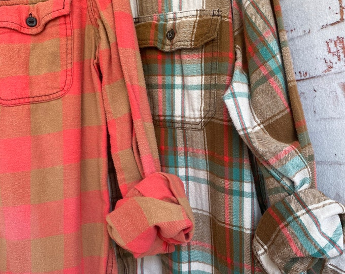 Small and XLarge vintage flannel shirt, set of 2, salmon with aqua and bronze gold brown plaid, couples shirts