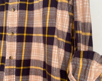 XL vintage flannel shirt, colors are blush purple and yellow plaid, bridesmaid flannels,  Xlarge