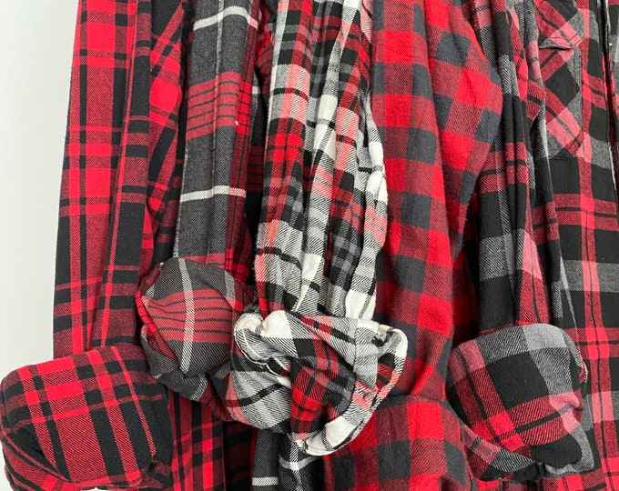 5 Medium flannel shirts, set of mismatched bridesmaid flannels, color red and gray plaids with bride shirt
