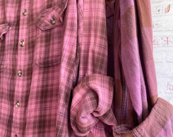 Medium vintage flannel shirts, set of 2 bridesmaid flannels, color is mulberry pinkish purple