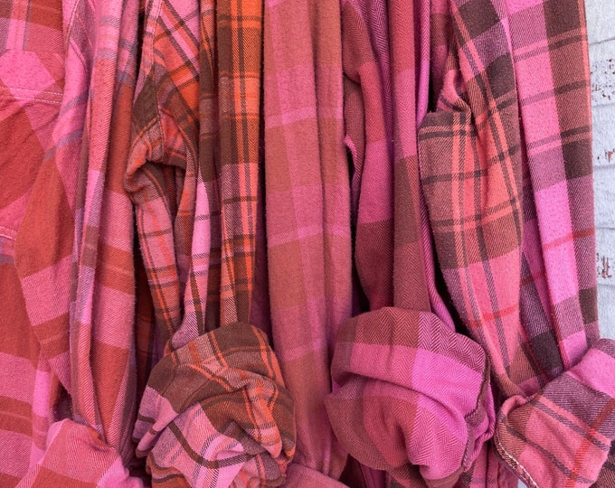 XL vintage flannel shirts curated as a set of 5, pink salmon, X large, bridesmaids flannels