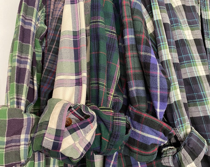 S/M vintage flannel shirts curated as a set of 6 in purple and green plaids