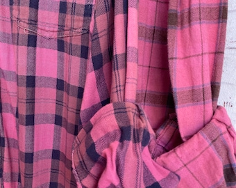 Large vintage flannel shirts, set of 2, pink and blue plaid, L, bridesmaid flannels