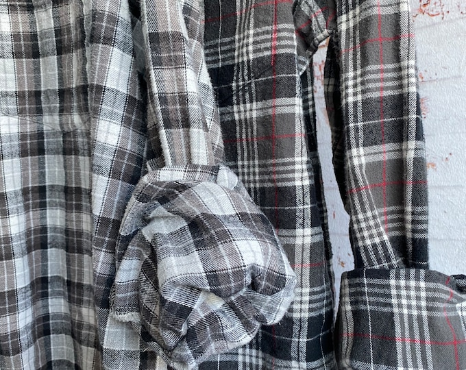 Large vintage flannel shirts curated as a set of 2 in gray and black