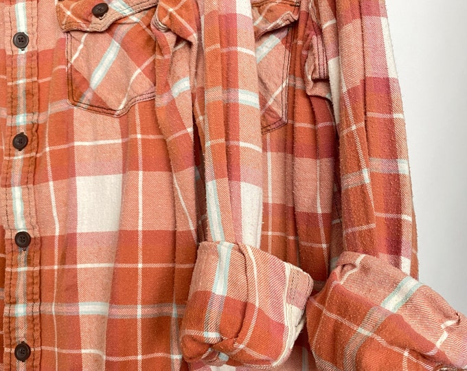 Large and XL vintage flannel shirt, set of 2, rose gold plaid, western flannels, couples shirts