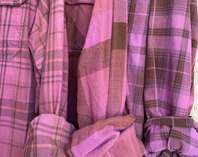XL vintage flannel shirts, curated set of 3,  Mulberry pink purple, X large