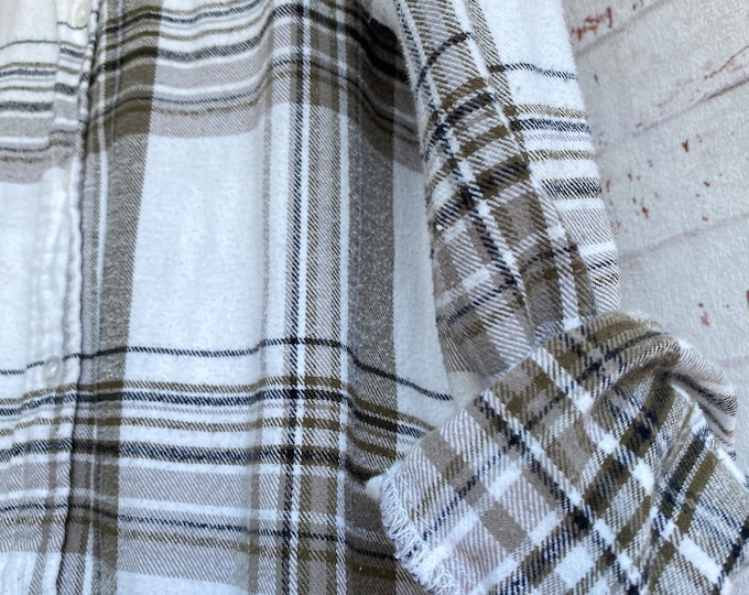 Small vintage flannel shirt, white flannel with olive green brown and black plaid, bride getting ready button down, SM