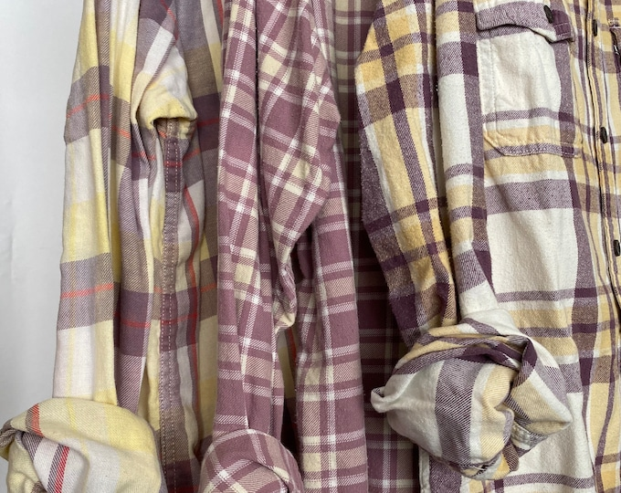 S/M vintage flannel shirts curated as a set of 3, yellow and lavender plaid, small medium, boyfriend flannels, bridesmaid shirt