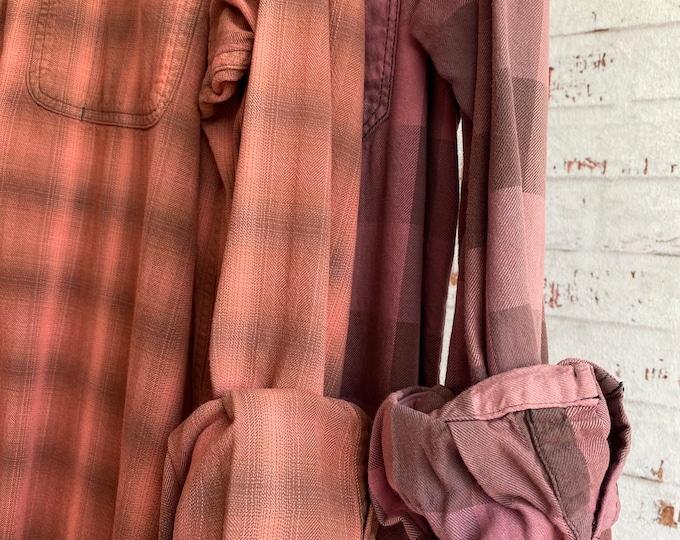 Medium vintage flannel shirts, set of 2 bridesmaid flannels, color is Summer Sorbet or pink salmon