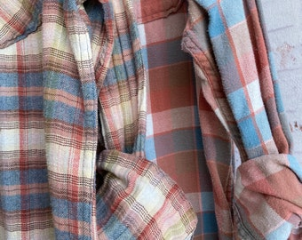 2 Large vintage flannel shirts, set of mismatched flannels in blue and dusty rose plaid, L couples shirt or bridesmaids