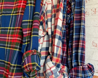3 bridesmaid flannels curated as a set, colors are red white and blue, sizes include small XL XXL, vintage mismatched flannel