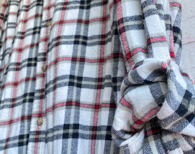 XL vintage flannel shirt, white flannel with black and red plaid, bride getting ready button down, xlarge