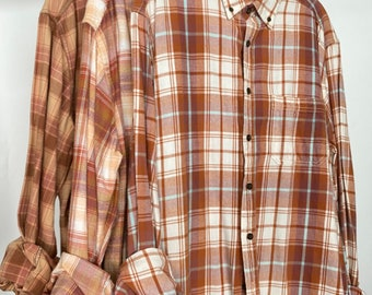 3 flannel shirts curated as a set of bridesmaid flannels, rose gold rust and copper, L/XL large Xlarge