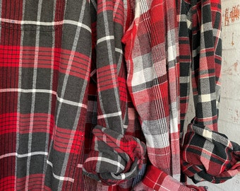 LARGE vintage flannel shirts curated as a set of 3 bridesmaids flannels, red plaids
