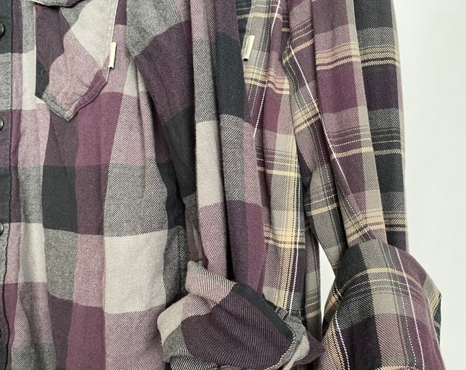 L/XL vintage flannel shirts curated as a set of 2, colors are plum purple gray and beige plaid, bridesmaid flannels, large Xlarge