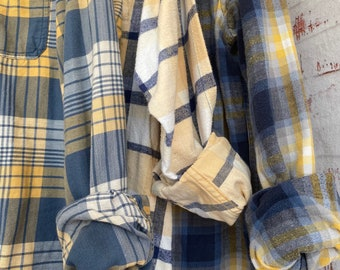 S/M vintage flannel shirts curated as a set of 2, yellow and blue plaid, small medium, boyfriend flannels, bridesmaid shirt