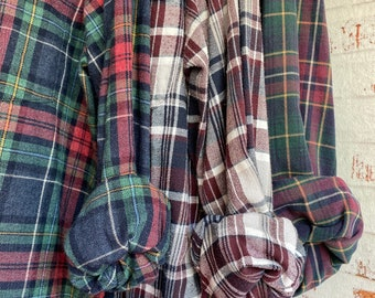 M/L vintage flannel shirts, set of 3 bridesmaid flannels, color holiday plaids with evergreen cranberry and blue , medium large