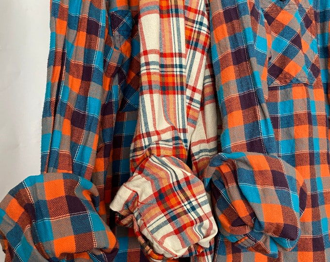 L/XL vintage flannel shirts curated as a set of 3,  colors are purple turquoise and orange plaid, bridesmaid flannels, large Xlarge